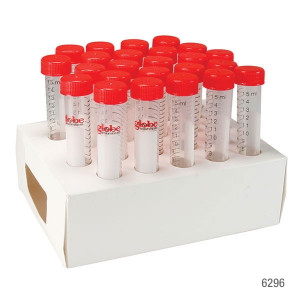 DIAMOND MAX™ High Speed Centrifuge Tube, 15mL, Attached Red Flat Top Screw Cap, PP, Printed Graduations, STERILE, Certified, 25/Cardboard Rack, 20 Racks/Unit