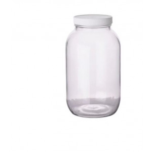 64oz Clear Wide Mouth Round Assembled w/83-400 PTFE Lined Cap, Certified (6/cs)