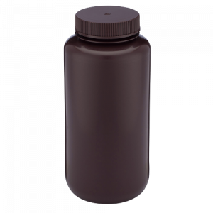 1000ml Amber Wide Mouth Bottle HDPE w/ PP 63-415  Closure, 1000mL, Bulk Packed, w/ Bottles & Caps Bagged Separately  50/Case