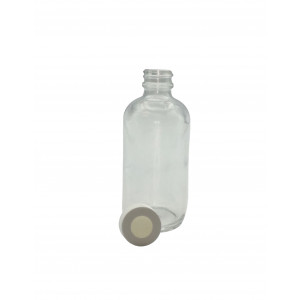 8oz Clear Boston Round Assembled w/24-400 Open Top Bonded T/S Septa Cap, Certified (12/cs)