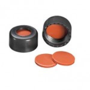 9mm AVCS Black Target DP Cap w/Ivory PTFE/Red Rubber Septum (100/pk)
