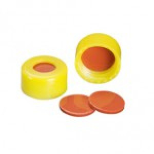 9-425 Yellow PP Threaded Cap w/Bonded PTFE/Red Rubber Septum (100/pk)