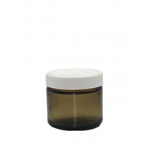 2oz Amber Straight Sided Jar Assembled w/53-400 Black F-217 Lined Cap (24/cs)