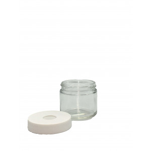 2oz Clear Straight Sided Jar Assembled w/53-400 Open Top Bonded T/S Septa Cap, Certified, Lot Label (24/cs)