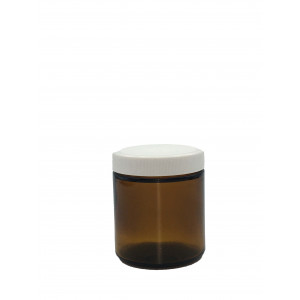 4oz Amber Straight Sided Short Jar,58-400 PTFE Lined PP Cap ,Certified, Bar Coded w/ labels (24/cs)