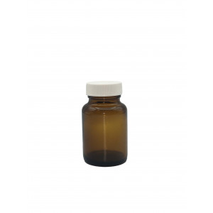 60mL Amber Wide Mouth Packer Assembled w/33-400 PTFE Lined Cap (24/cs)