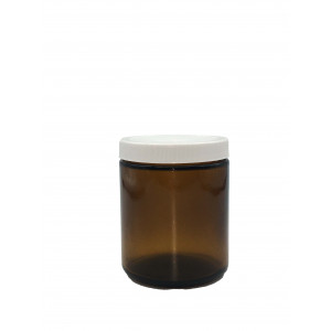 8oz Amber Straight Sided Jar Assembled w/70-400 PTFE Lined Cap, Bar Coded Certified (12/cs)