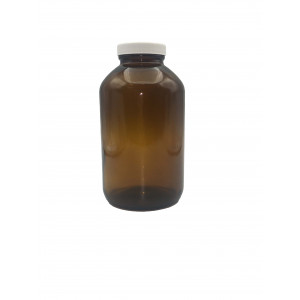 950mL Amber Wide Mouth Packer Assembled w/53-400 Cap, A1 Certified, Bar Coded, Labeled (12/cs)
