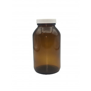 500mL Amber Wide Mouth Packer Assembled w/53-400 PTFE Lined Cap,Bar Coded, Certified (12/cs)