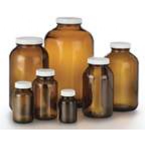 2500mL Amber Plastisol Coated Wide Mouth Packer Assembled with 70-400 PTFE Lined Cap (12/cs)