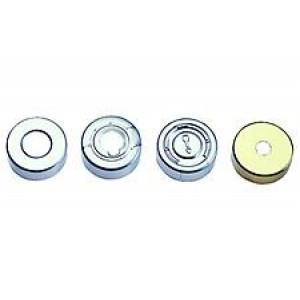 Gold Magnetic Crimp Cap w/8mm Center Hole & Butyl/PTFE Grey Septa (100/pk)