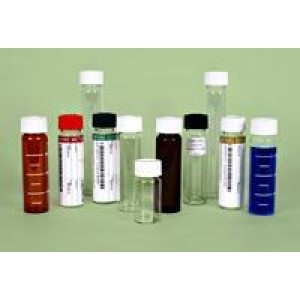 {White Cap} 40ml Clear Graduated VOA Vial ,  Economy Pack, Assembled w/Open Top Bonded Septa Cap, Certified (60/pk)