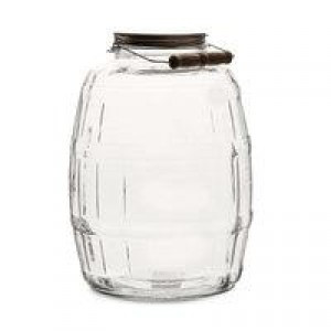 2-1/2 Gallon Barrel Jar w/Green Metal Lid {Each}
