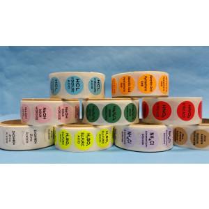 Hydrochloric Acid {Lt. Blue} Color Coded Sample Labels {HCL} (1000/Roll)