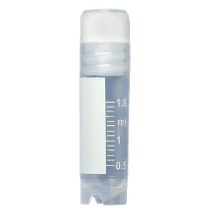 CryoCLEAR vials, 2.0mL, STERILE, Internal Threads, Attached Screwcap with Molded O-Ring, Round Bottom, Self-Standing, Printed Graduations, Writing Space and Barcode, 50/Bag