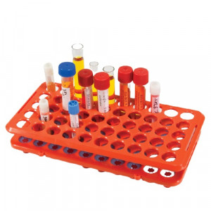 Rack with Grippers, for up to 17mm Tubes, 50-Place, Autoclavable, Orange