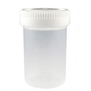 Container: Tite-Rite, 60mL (2oz), PP, 48mm Opening, Graduated, with Separate White Screwcap, 500/Unit