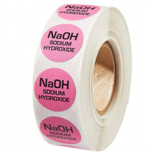 Sodium Hydroxide Pink Color Coded Sample Labels {NAOH} (1000/Roll)