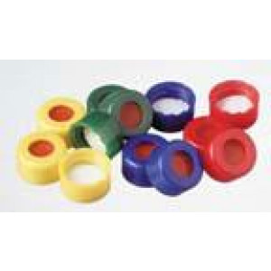 "9-425 Yellow PP Ribbed Threaded Cap w/Bonded 0.040"" thick Red PTFE/White Silicone Septum (100/pk)"