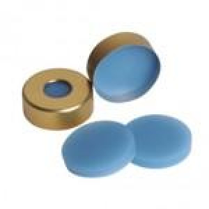20mm Steel Crimp Seal with Natural Teflon/Blue Silicone Septum (100 pack)