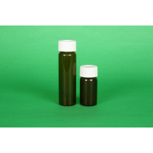 20mL Amber VOA Vial w/24-400 Solid Top PTFE Lined Cap Precleaned & Certified, NO Partitions (100/cs)