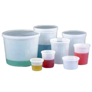 Container, Multi-Purpose, HDPE, Economy Style, 16oz (480mL), Separate Snap Lid, Natural, 100/Unit
