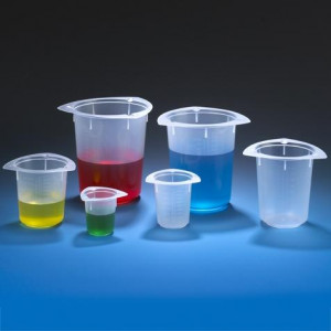 Beaker, Three Corner, PP, Graduated, 250mL, 100/Unit