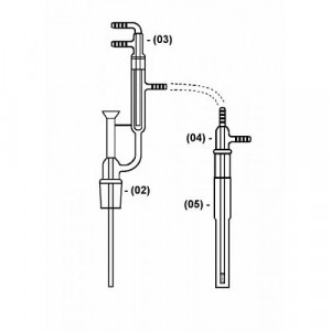 Midi Distillation Head, 14/20 Upper & 29/42 Lower, for Midi Cyanide Distillation Kit (Kontes® Style) (ea)