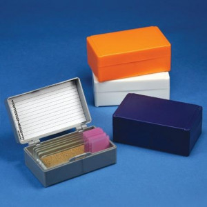 Slide Box for 12 Slides, Cork Lined, Orange