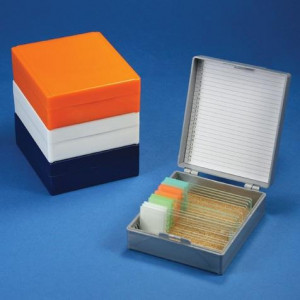 Slide Box for 25 Slides, Cork Lined, Orange