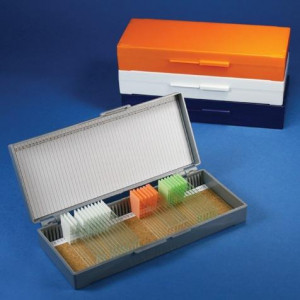 Slide Box for 50 Slides, Cork Lined, Orange