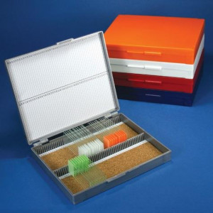 Slide Box for 100 Slides, Cork Lined, Orange