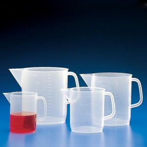 Beaker with Handle, PP, Molded Graduations, 2000mL, 36/Unit