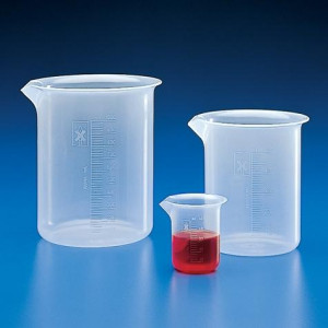 Beaker, PP, Molded Graduations, 1000mL, 4/Unit