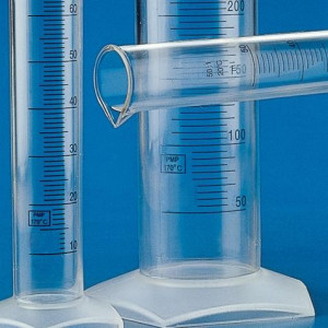 Graduated Cylinder, PMP (TPX), Printed Graduations, 250mL, 12/Unit