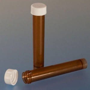 Transport Tube, 10mL, with Separate Screw Cap, AMBER, PP, Conical Bottom, Self-Standing, Molded Graduations, 1000/Unit