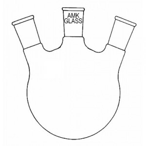 Round Bottom Flask, 2000mL, 3-Neck, Angled 20°, 45/50 Center, 24/40 Sides (ea)