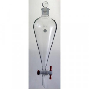 Separatory Funnel, 2000mL, Complete, Squibb, PTFE Stopcock (ea)