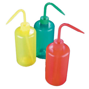 Wash Bottle, Narrow Mouth, 500mL, LDPE, YELLOW, 5/Unit