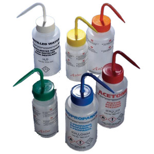 Wash Bottle, Isopropanol, 500mL, LDPE, Multi-Lingual, Non-Vented, BLUE Screwcap, 5/Unit