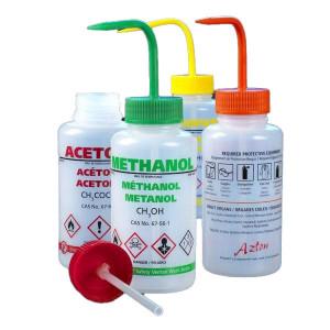 Wash Bottle, Ethanol, 500mL, LDPE, Multi-Lingual, Safety Vented, ORANGE Screwcap, 5/Unit