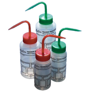 Wash Bottle, Tracker, 500mL, LDPE, Write-On-Panel, Safety Vented, RED Screwcap, 5/Unit