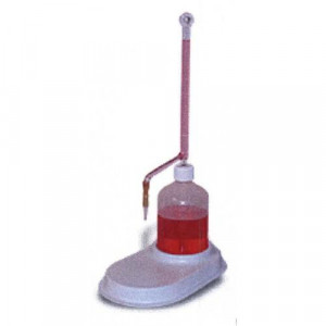 S-O-M Buret, 25mL, 165mm, 500mL Poly Bottle, Econo-Tip, Graduated w/ White Markings (w/ Base, Rubber Tip Assembly) (ea)