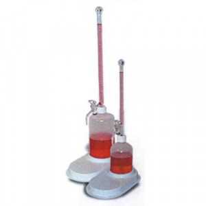 S-O-M Buret, 10mL, 165mm, 500mL Poly Bottle, Glass Plug, Graduated w/ White Markings (ea)