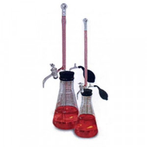 S-O-M Buret, 10mL, 195mm, 500mL Glass Flask, Teflon® Plug, Graduated w/ White Markings (ea)
