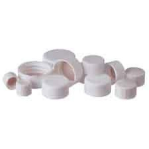 20-400 White PP PTFE Lined Closed Cap (100/pk)