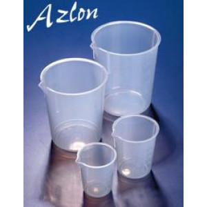 100mL PP Tapered Low Form Beaker, Molded Graduations in 20mL Increments (10/pk)