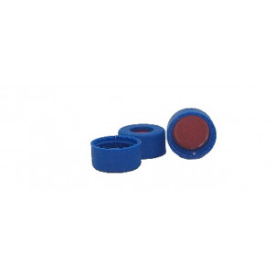 9mm Cap, Screw, Blue, Red PTFE/White Sil/Red PTFE, 1mm  100/pk