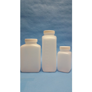 500mL Natural HDPE Oblong Bottle Assembled w/53-400 F-217 Lined Cap, Certified, Labeled w/Lot# & Container # (150/cs)