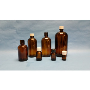 500mL Amber Pour Out Assembled w/38-439 Black Phenolic PTFE Lined Cap (24/cs)